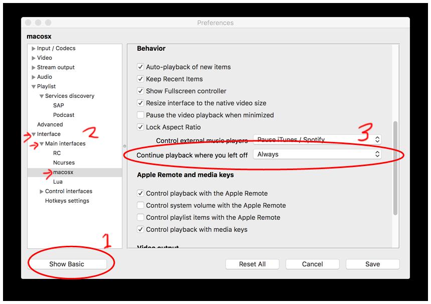 VLC Mac resume prefs